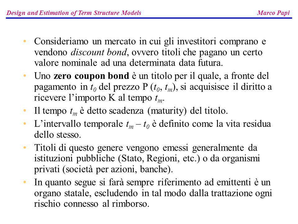 Consideriamo un mercato in cui gli investitori comprano e vendono discount bond, ovvero titoli che pagano un certo valore nominale ad una determinata