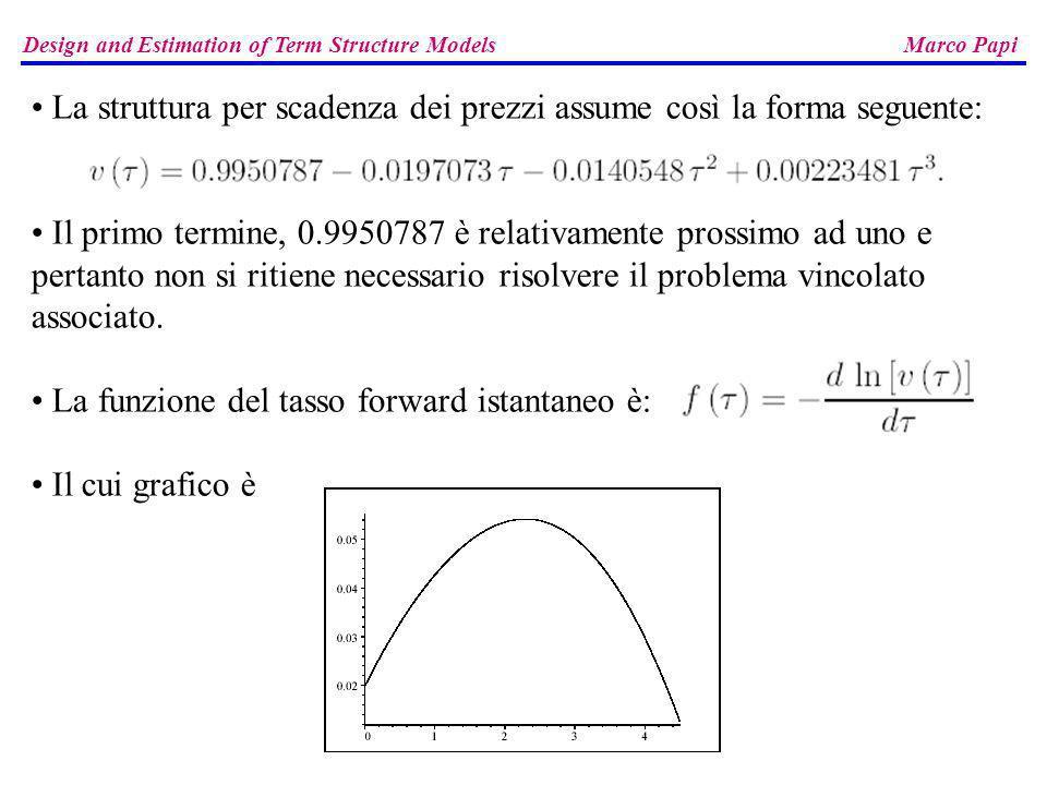 Design and Estimation of Term Structure Models Marco Papi La struttura per scadenza dei prezzi assume così la forma seguente: Il primo termine, 0.9950