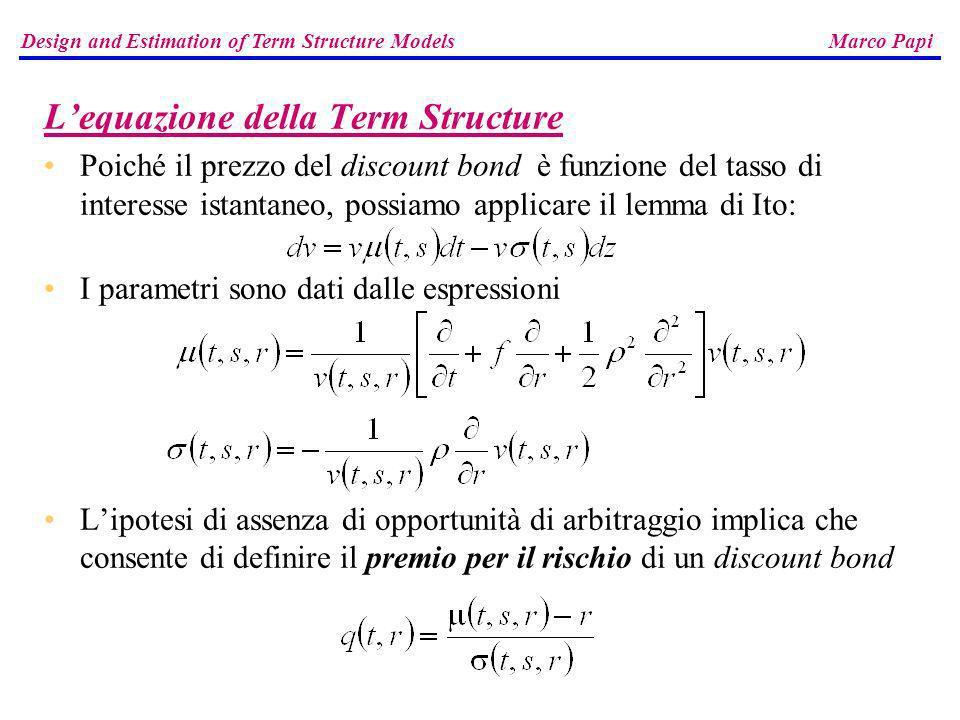 Lequazione della Term Structure Poiché il prezzo del discount bond è funzione del tasso di interesse istantaneo, possiamo applicare il lemma di Ito: I