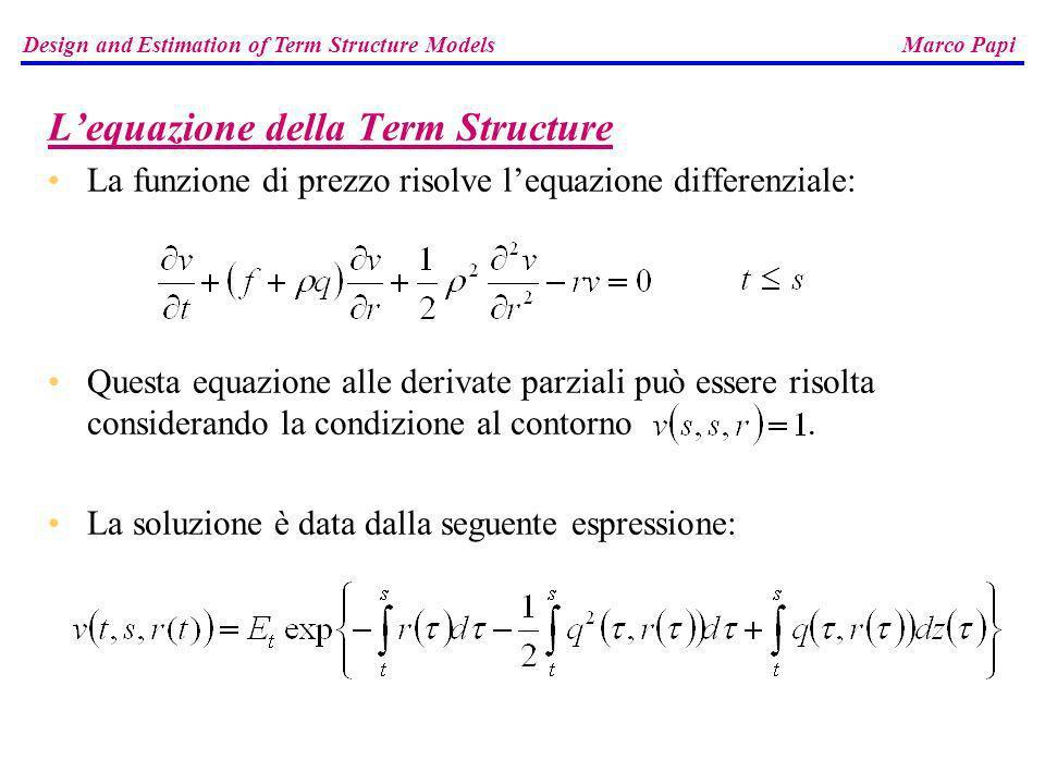 Lequazione della Term Structure La funzione di prezzo risolve lequazione differenziale: Questa equazione alle derivate parziali può essere risolta con