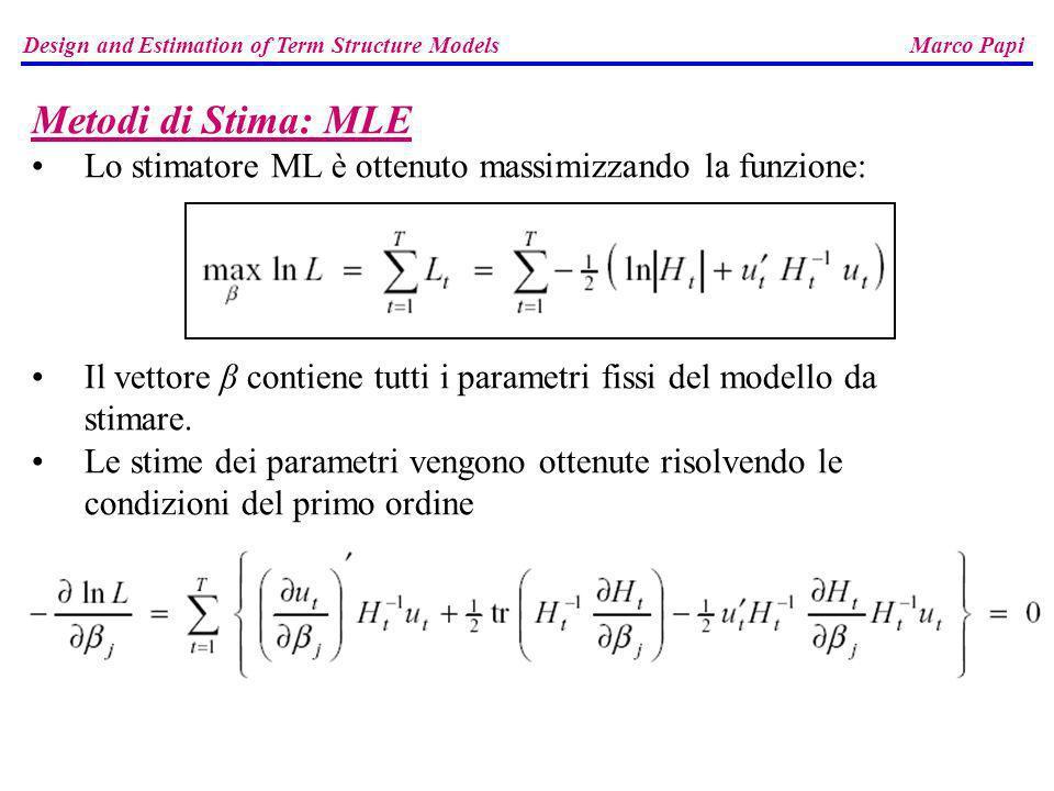 Design and Estimation of Term Structure Models Marco Papi Metodi di Stima: MLE Lo stimatore ML è ottenuto massimizzando la funzione: Il vettore β cont