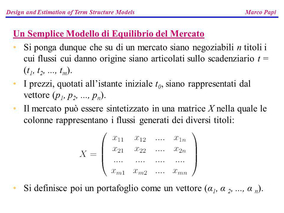Il flusso y generato dal portafoglio α lo si ottiene moltiplicando la matrice X per il vettore α : Definizione Dato un mercato definito al tempo t dal paniere fondamentale X e dal vettore dei prezzi p, si ha un arbitraggio di tipo A se esiste un portafoglio α che genera il flusso y = X α, per il quale è: = 0 e y 0 con almeno una disuguaglianza stretta, mentre si ha un arbitraggio di tipo B se esiste α per il quale è < 0 e y 0.