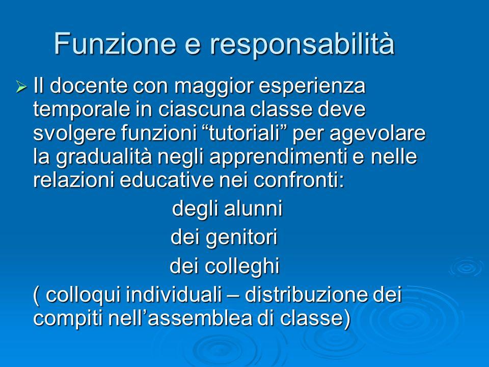 Funzione e responsabilità Il docente con maggior esperienza temporale in ciascuna classe deve svolgere funzioni tutoriali per agevolare la gradualità