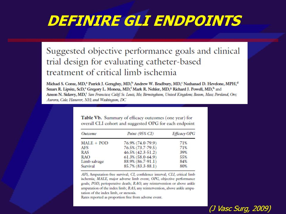 DEFINIRE GLI ENDPOINTS (J Vasc Surg, 2009)