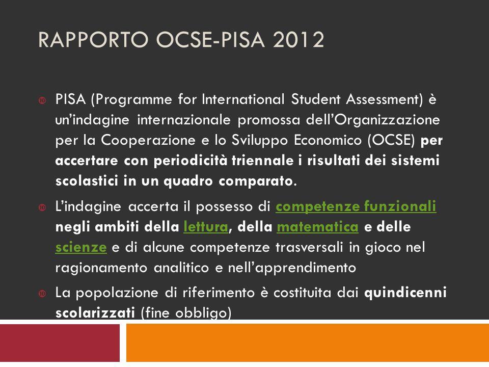 RAPPORTO OCSE-PISA 2012 PISA (Programme for International Student Assessment) è unindagine internazionale promossa dellOrganizzazione per la Cooperazione e lo Sviluppo Economico (OCSE) per accertare con periodicità triennale i risultati dei sistemi scolastici in un quadro comparato.
