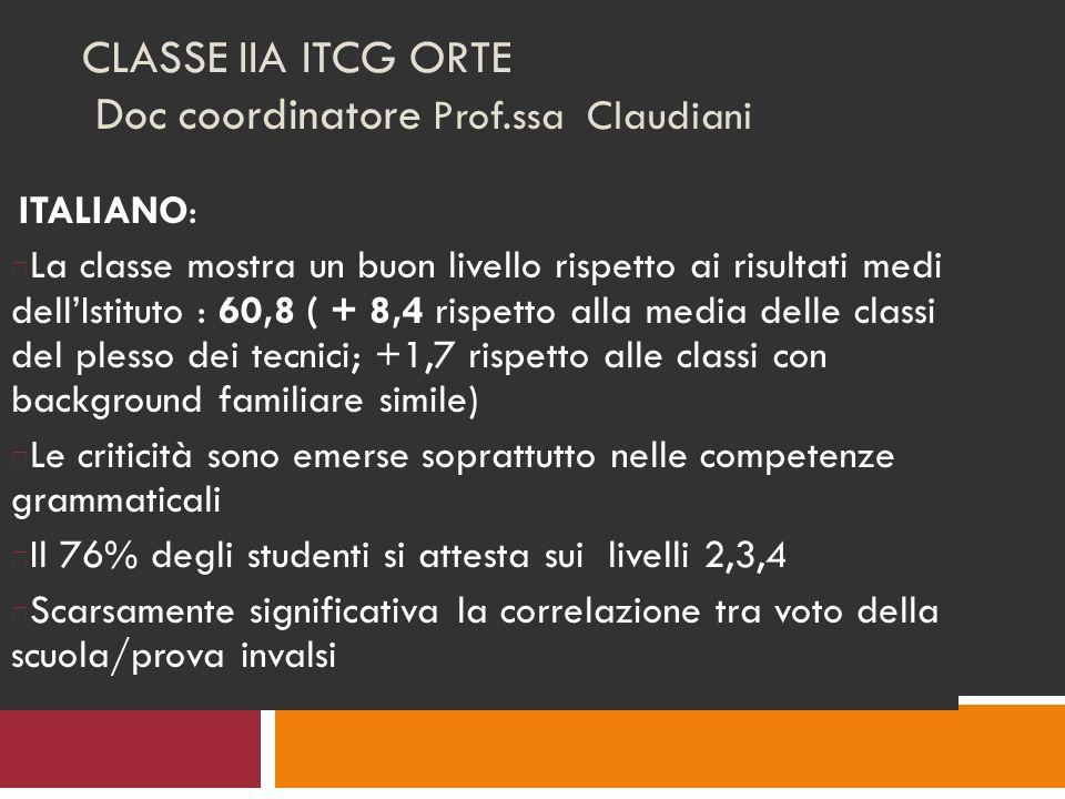 CLASSE IIA ITCG ORTE Doc coordinatore Prof.ssa Claudiani ITALIANO: La classe mostra un buon livello rispetto ai risultati medi dellIstituto : 60,8 ( + 8,4 rispetto alla media delle classi del plesso dei tecnici; +1,7 rispetto alle classi con background familiare simile) Le criticità sono emerse soprattutto nelle competenze grammaticali Il 76% degli studenti si attesta sui livelli 2,3,4 Scarsamente significativa la correlazione tra voto della scuola/prova invalsi