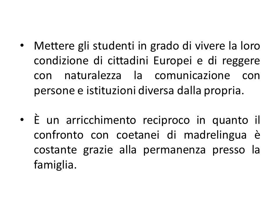 Mettere gli studenti in grado di vivere la loro condizione di cittadini Europei e di reggere con naturalezza la comunicazione con persone e istituzion