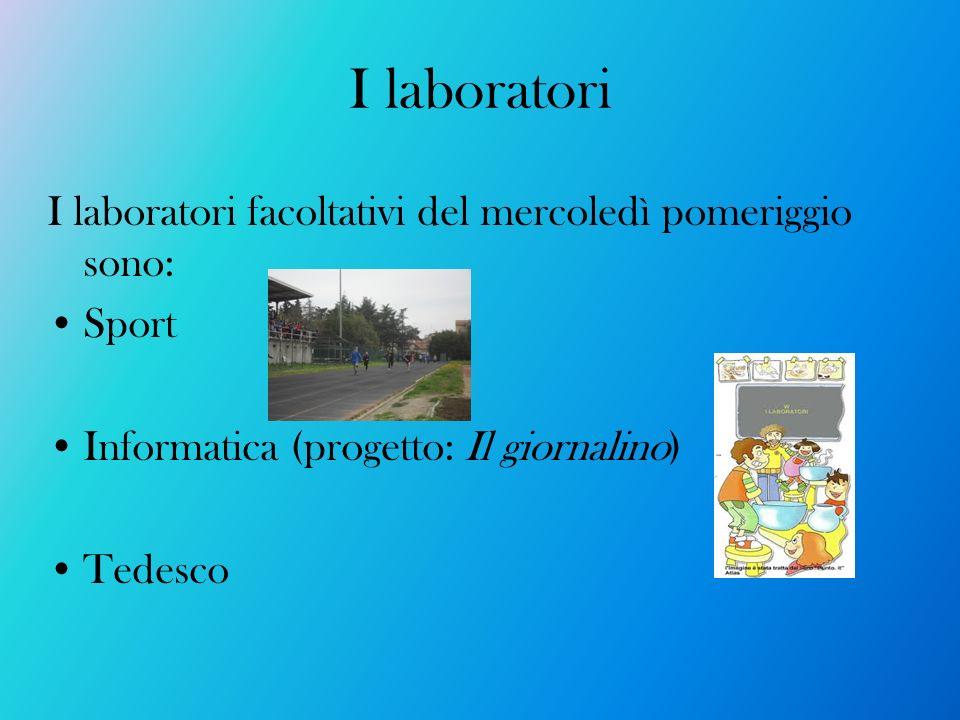 I laboratori I laboratori facoltativi del mercoledì pomeriggio sono: Sport Informatica (progetto: Il giornalino) Tedesco