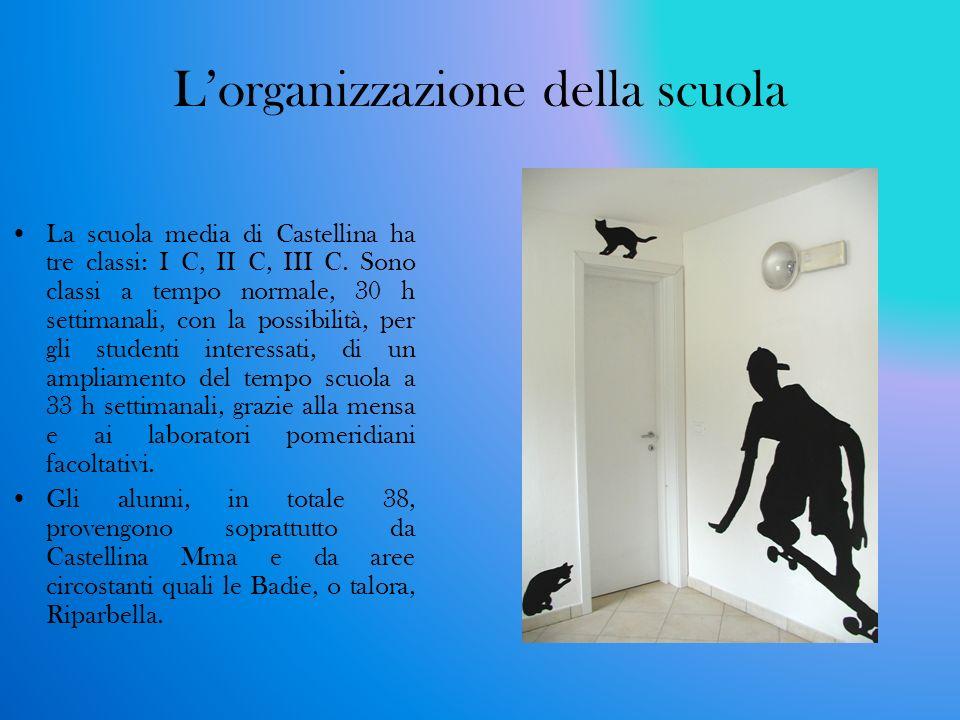 Lorganizzazione della scuola La scuola media di Castellina ha tre classi: I C, II C, III C. Sono classi a tempo normale, 30 h settimanali, con la poss