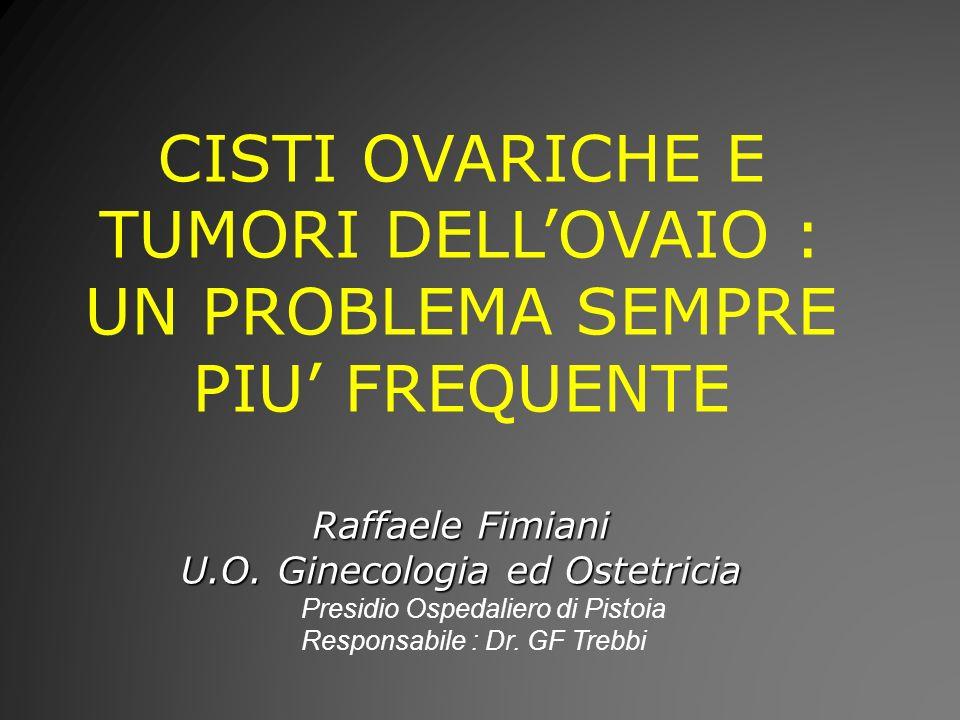 CISTI OVARICHE E TUMORI DELLOVAIO : UN PROBLEMA SEMPRE PIU FREQUENTE Raffaele Fimiani U.O.