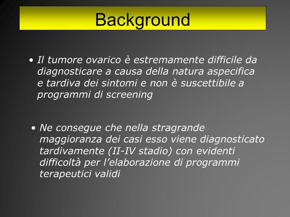 Background Il tumore ovarico è estremamente difficile da diagnosticare a causa della natura aspecifica e tardiva dei sintomi e non è suscettibile a programmi di screening Ne consegue che nella stragrande maggioranza dei casi esso viene diagnosticato tardivamente (II-IV stadio) con evidenti difficoltà per lelaborazione di programmi terapeutici validi
