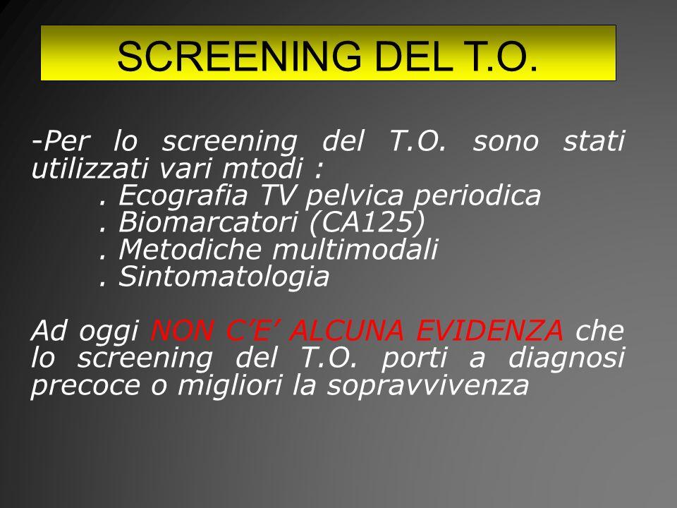 SCREENING DEL T.O.-Per lo screening del T.O. sono stati utilizzati vari mtodi :.