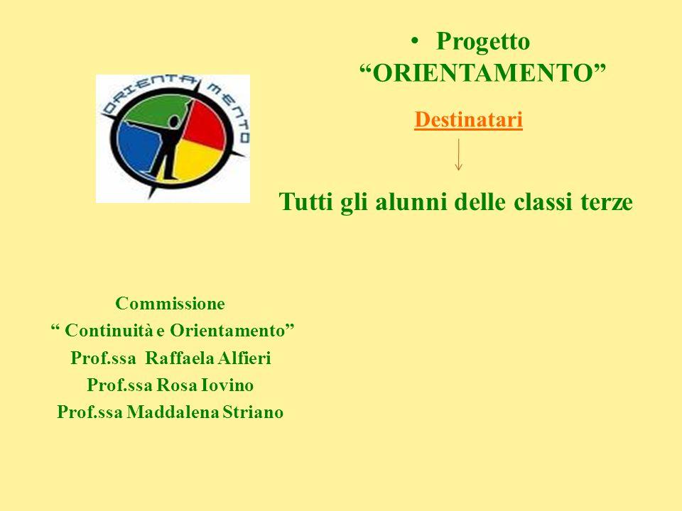 Progetto ORIENTAMENTO Commissione Continuità e Orientamento Prof.ssa Raffaela Alfieri Prof.ssa Rosa Iovino Prof.ssa Maddalena Striano Destinatari Tutt