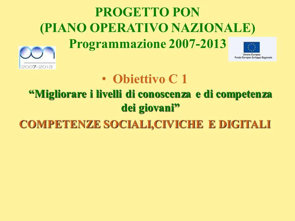 PROGETTO PON (PIANO OPERATIVO NAZIONALE) Programmazione 2007-2013 Migliorare i livelli di conoscenza e di competenza dei giovani Obiettivo C 1 Miglior