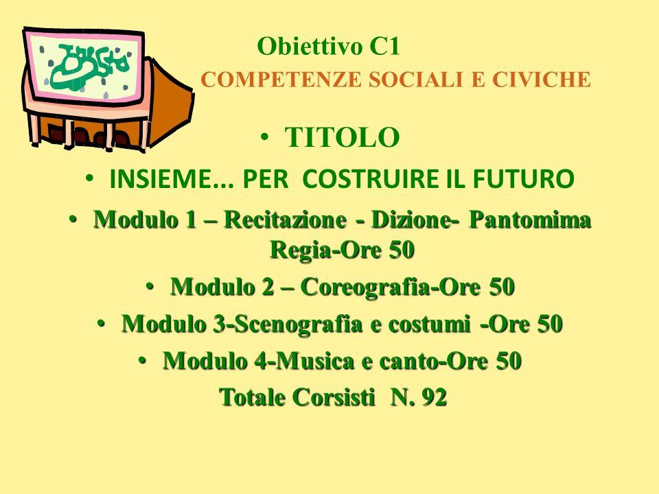 Obiettivo C1 COMPETENZE SOCIALI E CIVICHE TITOLO INSIEME... PER COSTRUIRE IL FUTURO Modulo 1 – Recitazione - Dizione- Pantomima Regia-Ore 50 Modulo 1