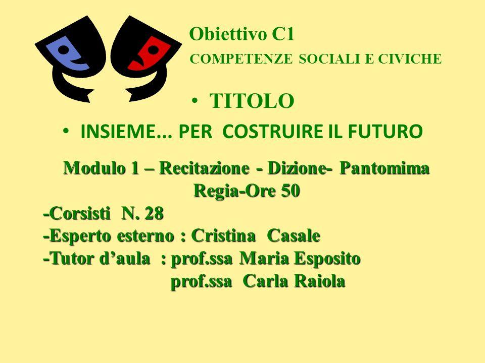 Obiettivo C1 COMPETENZE SOCIALI E CIVICHE TITOLO INSIEME... PER COSTRUIRE IL FUTURO Modulo 1 – Recitazione - Dizione- Pantomima Regia-Ore 50 -Corsisti