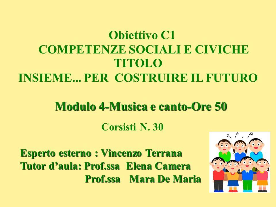 Obiettivo C1 COMPETENZE SOCIALI E CIVICHE TITOLO INSIEME... PER COSTRUIRE IL FUTURO Modulo 4-Musica e canto-Ore 50 Esperto esterno : Vincenzo Terrana