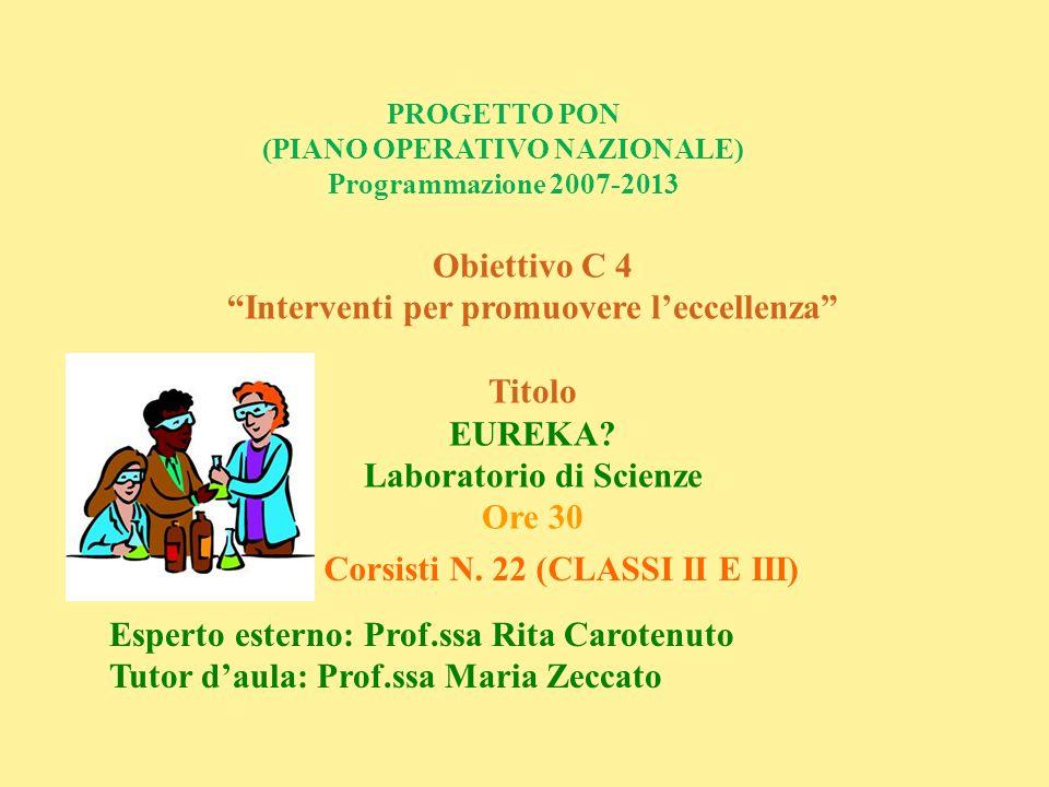 PROGETTO PON (PIANO OPERATIVO NAZIONALE) Programmazione 2007-2013 Obiettivo C 4 Interventi per promuovere leccellenza Titolo EUREKA? Laboratorio di Sc