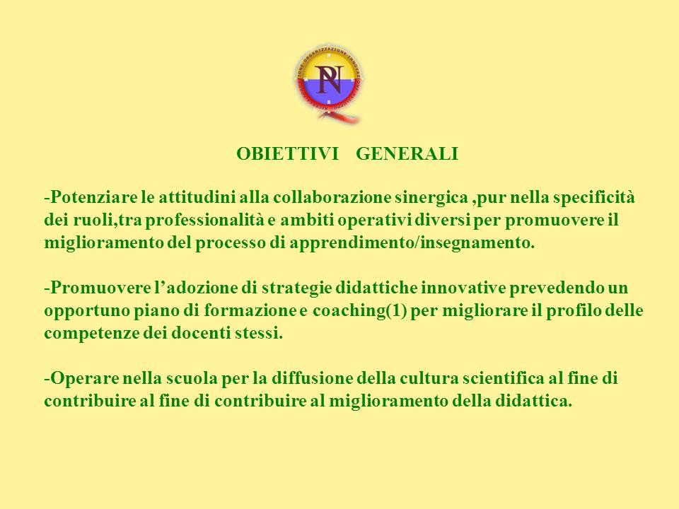 OBIETTIVI GENERALI -Potenziare le attitudini alla collaborazione sinergica,pur nella specificità dei ruoli,tra professionalità e ambiti operativi dive