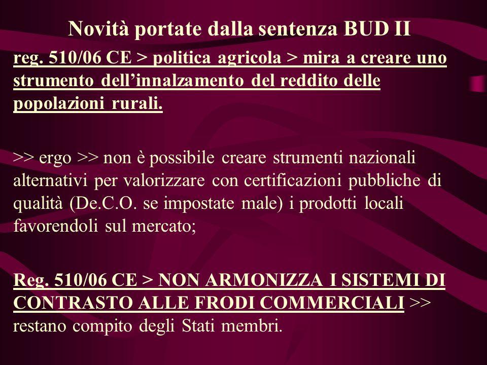 Novità portate dalla sentenza BUD II reg.