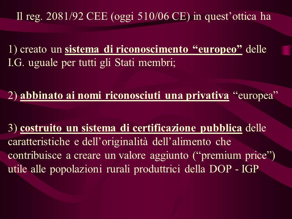 Il reg. 2081/92 CEE (oggi 510/06 CE) in questottica ha 1) creato un sistema di riconoscimento europeo delle I.G. uguale per tutti gli Stati membri; 2)