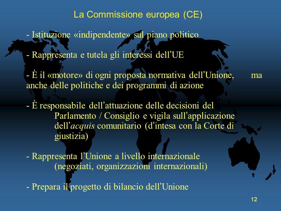 12 La Commissione europea (CE) - Istituzione «indipendente» sul piano politico - Rappresenta e tutela gli interessi dell UE - È il «motore» di ogni pr