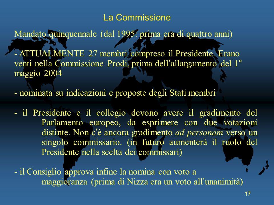 17 La Commissione Mandato quinquennale (dal 1995: prima era di quattro anni) - ATTUALMENTE 27 membri compreso il Presidente. Erano venti nella Commiss