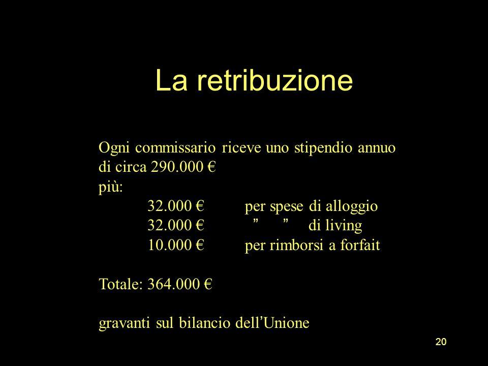 La retribuzione 20 Ogni commissario riceve uno stipendio annuo di circa 290.000 più: 32.000 per spese di alloggio 32.000 di living 10.000 per rimborsi