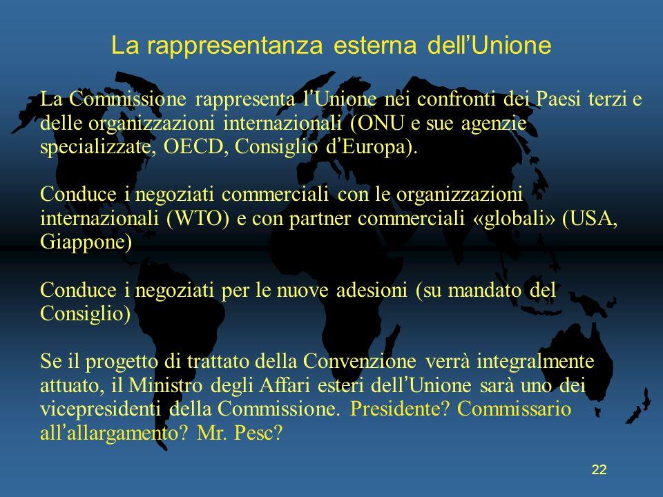 22 La rappresentanza esterna dellUnione La Commissione rappresenta l Unione nei confronti dei Paesi terzi e delle organizzazioni internazionali (ONU e