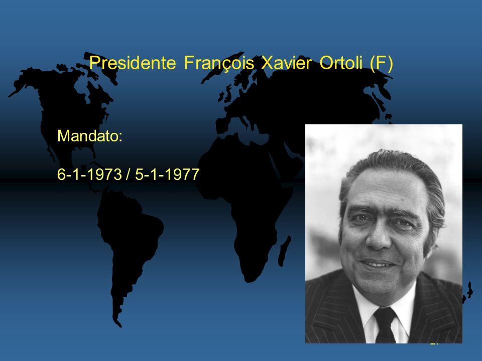 27 Presidente François Xavier Ortoli (F) Mandato: 6-1-1973 / 5-1-1977