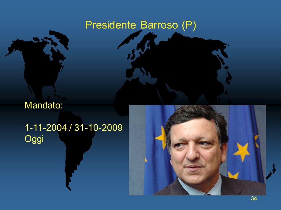 34 Presidente Barroso (P) Mandato: 1-11-2004 / 31-10-2009 Oggi