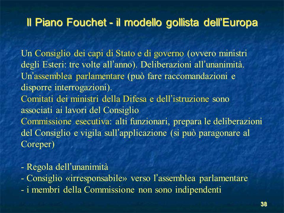 38 Il Piano Fouchet - il modello gollista dellEuropa Un Consiglio dei capi di Stato e di governo (ovvero ministri degli Esteri: tre volte all anno). D
