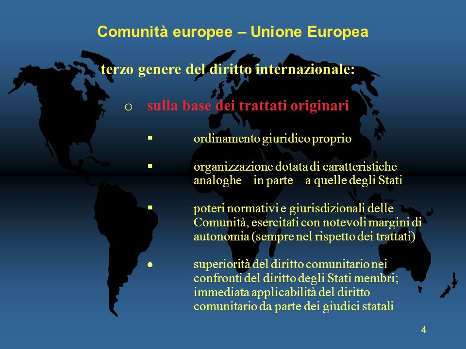 4 Comunità europee – Unione Europea terzo genere del diritto internazionale: o sulla base dei trattati originari ordinamento giuridico proprio organiz