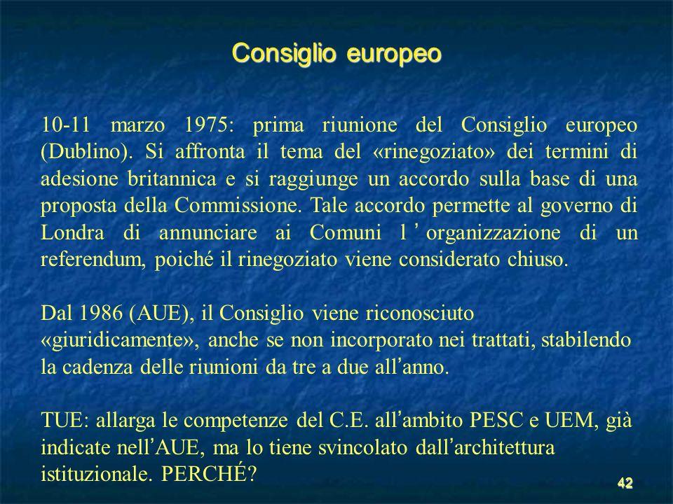 42 Consiglio europeo 10-11 marzo 1975: prima riunione del Consiglio europeo (Dublino). Si affronta il tema del «rinegoziato» dei termini di adesione b