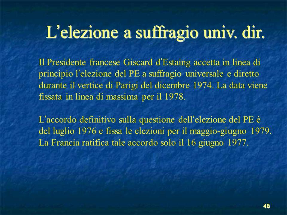 48 L elezione a suffragio univ. dir. Il Presidente francese Giscard d Estaing accetta in linea di principio l elezione del PE a suffragio universale e