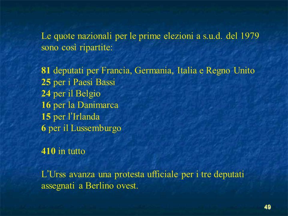 49 Le quote nazionali per le prime elezioni a s.u.d. del 1979 sono così ripartite: 81 deputati per Francia, Germania, Italia e Regno Unito 25 per i Pa