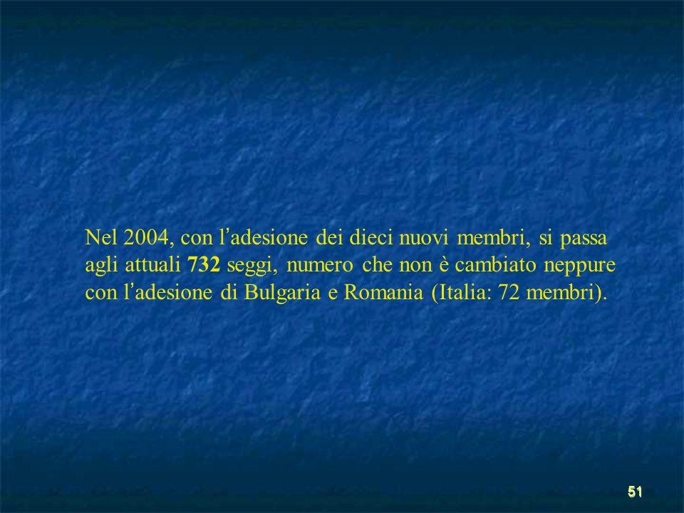51 Nel 2004, con l adesione dei dieci nuovi membri, si passa agli attuali 732 seggi, numero che non è cambiato neppure con l adesione di Bulgaria e Ro