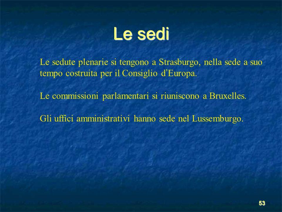 53 Le sedi Le sedute plenarie si tengono a Strasburgo, nella sede a suo tempo costruita per il Consiglio d Europa. Le commissioni parlamentari si riun