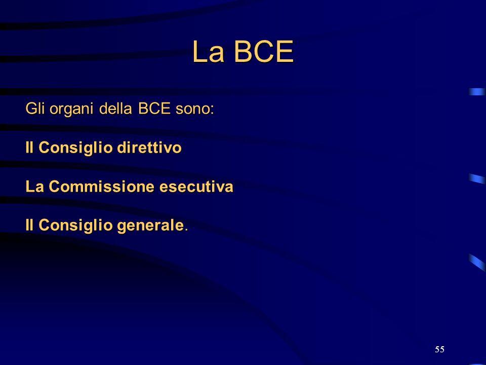 55 La BCE Gli organi della BCE sono: Il Consiglio direttivo La Commissione esecutiva Il Consiglio generale.