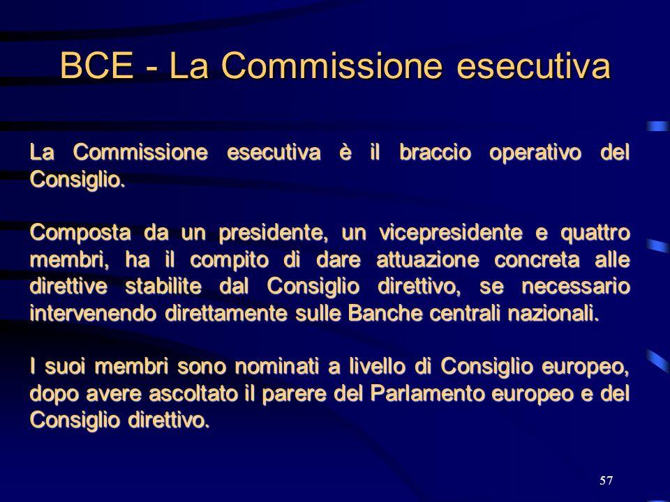 57 BCE - La Commissione esecutiva La Commissione esecutiva è il braccio operativo del Consiglio. Composta da un presidente, un vicepresidente e quattr