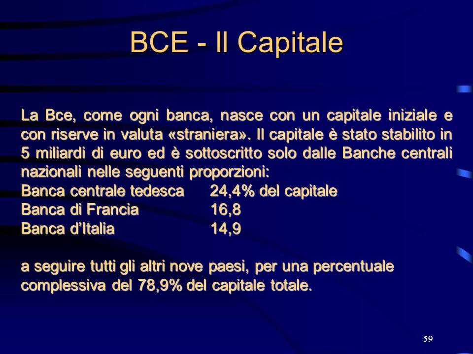 59 BCE - Il Capitale La Bce, come ogni banca, nasce con un capitale iniziale e con riserve in valuta «straniera». Il capitale è stato stabilito in 5 m