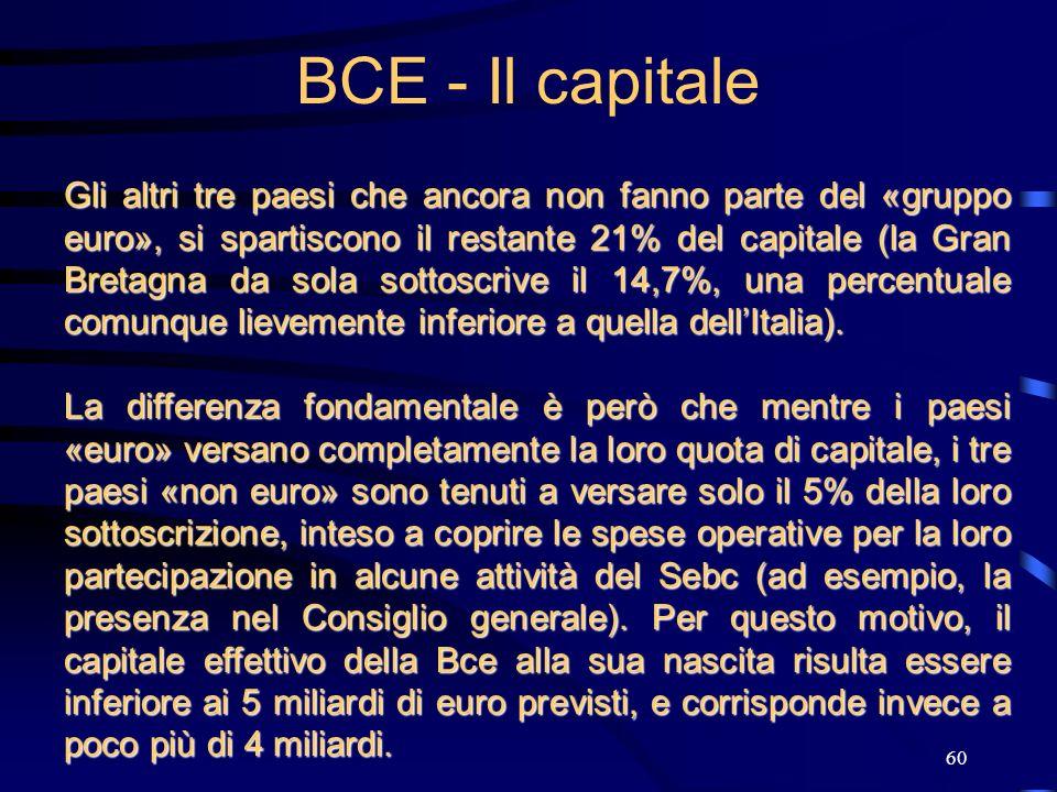 60 BCE - Il capitale Gli altri tre paesi che ancora non fanno parte del «gruppo euro», si spartiscono il restante 21% del capitale (la Gran Bretagna d