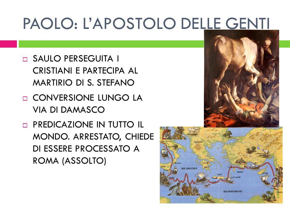 PAOLO: LAPOSTOLO DELLE GENTI SAULO PERSEGUITA I CRISTIANI E PARTECIPA AL MARTIRIO DI S. STEFANO CONVERSIONE LUNGO LA VIA DI DAMASCO PREDICAZIONE IN TU