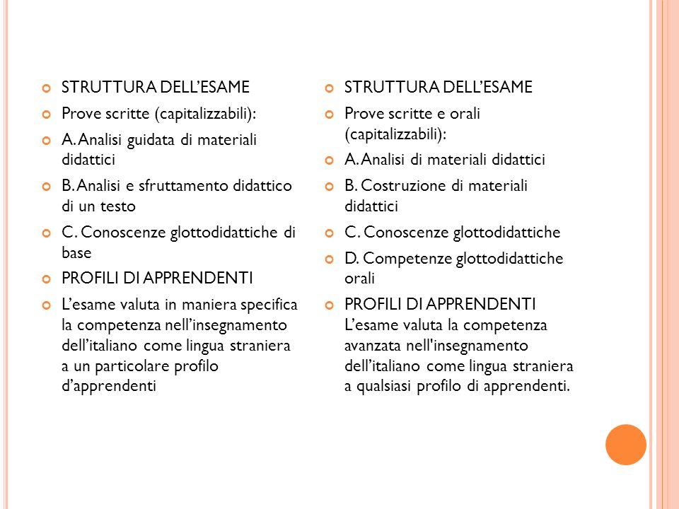 STRUTTURA DELLESAME Prove scritte (capitalizzabili): A. Analisi guidata di materiali didattici B. Analisi e sfruttamento didattico di un testo C. Cono