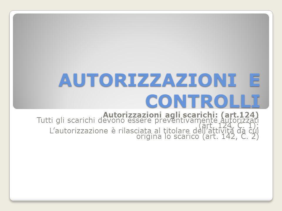 AUTORIZZAZIONI E CONTROLLI Autorizzazioni agli scarichi: (art.124) Tutti gli scarichi devono essere preventivamente autorizzati (art. 124, C. 1); Laut