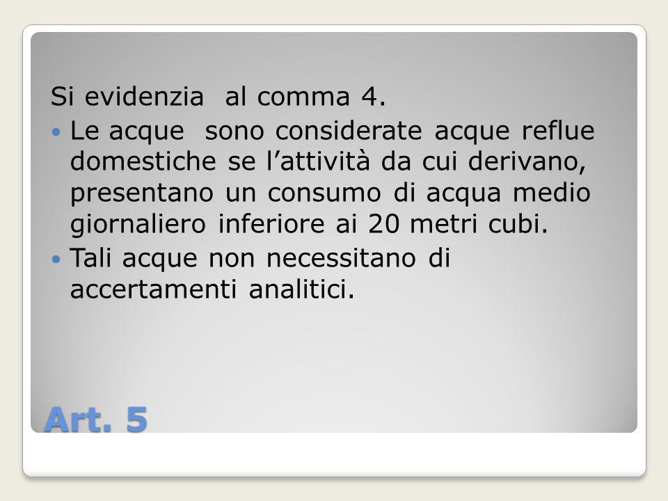 Art. 5 Si evidenzia al comma 4. Le acque sono considerate acque reflue domestiche se lattività da cui derivano, presentano un consumo di acqua medio g