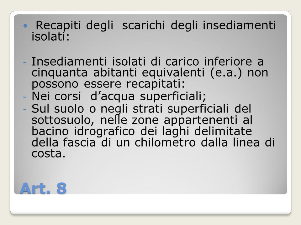 Art. 8 Recapiti degli scarichi degli insediamenti isolati: - Insediamenti isolati di carico inferiore a cinquanta abitanti equivalenti (e.a.) non poss