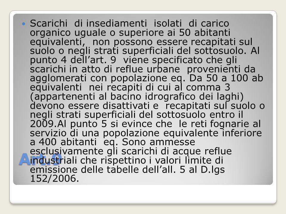 Art.9 Scarichi di insediamenti isolati di carico organico uguale o superiore ai 50 abitanti equivalenti, non possono essere recapitati sul suolo o neg