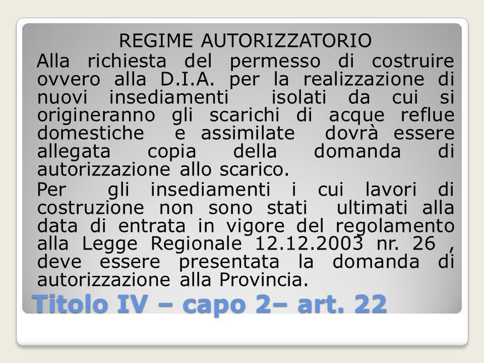 Titolo IV – capo 2– art. 22 REGIME AUTORIZZATORIO Alla richiesta del permesso di costruire ovvero alla D.I.A. per la realizzazione di nuovi insediamen