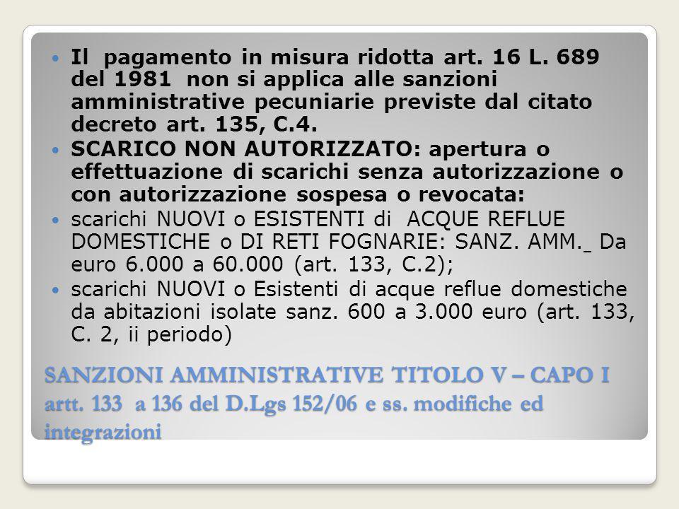 SANZIONI AMMINISTRATIVE TITOLO V – CAPO I artt. 133 a 136 del D.Lgs 152/06 e ss. modifiche ed integrazioni Il pagamento in misura ridotta art. 16 L. 6